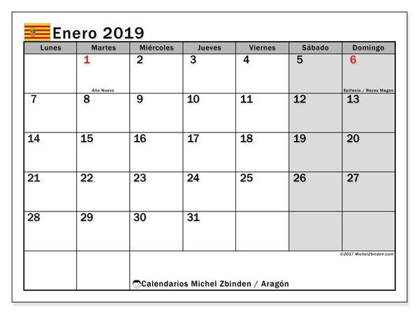 Calendario enero 2019, Aragón | 2019 A3 | Pinterest | Calendar ...