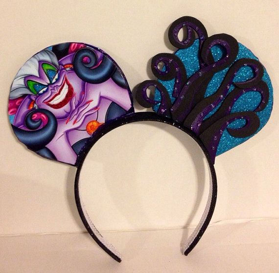 Ursula inspired Mickey Mouse ears by ColeRoseCrafts on Etsy