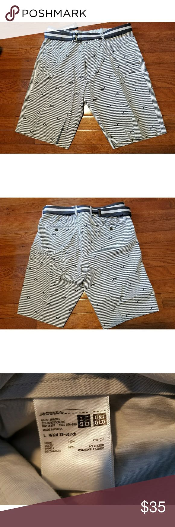 Uniqlo Shorts w/ belt In great condition! Comes with matching belt! Perfect for Spring! Uniqlo Shorts