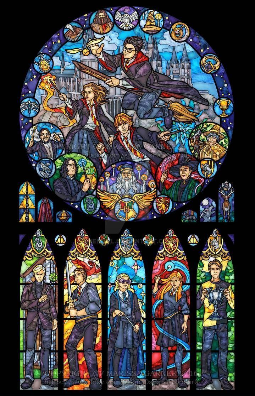 Harry Potter Stained Glass Illustration By Nenuiel On Deviantart Harry Potter Wallpaper Harry Potter Fantastic Beasts Harry Potter Universal