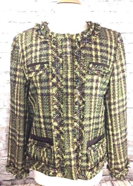 Chicos Womens Tweed Jacket Green Brown Plaid Size 2 (Large) Fringe Embellished #Chicos #BasicJacket #Business