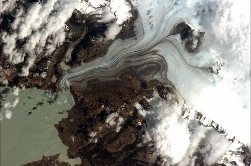Patagonia glacier - thousands of years of climate history, coldly moving in ultra slow motion. Photo taken by Chris Hadfield from the space station (4/17/13).