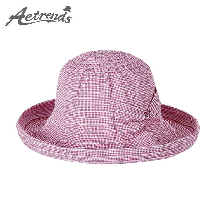 [AETRENDS] 2017 Summer Hats for Women Crimping Brim Cotton Ladies Sun Hat Travel Beach Bucket Cap Z-5129