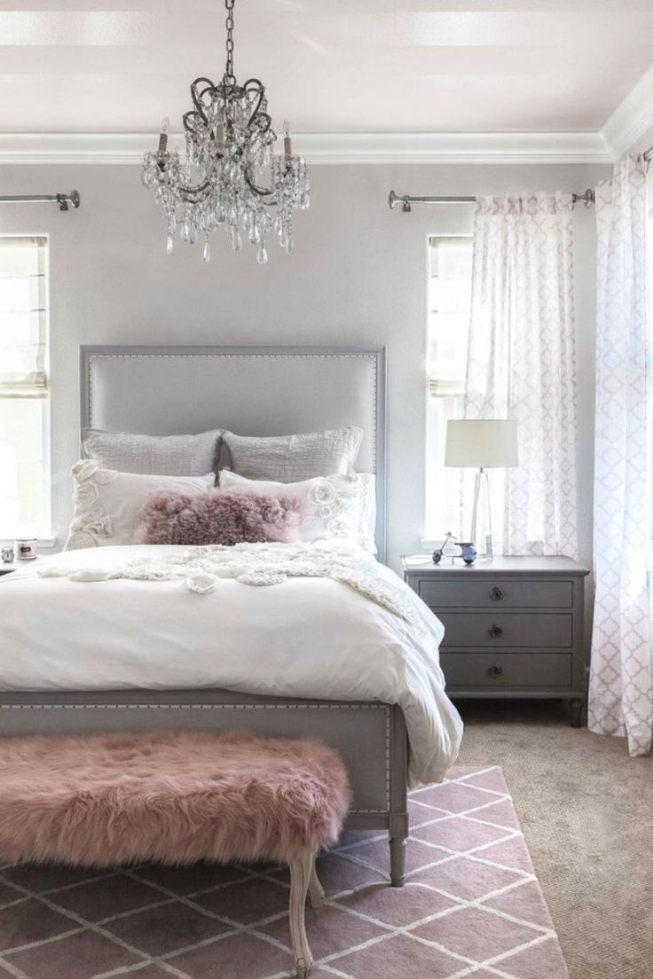 Stunning 57 Gorgeous White And Grey Master Bedroom Ideas With Pink