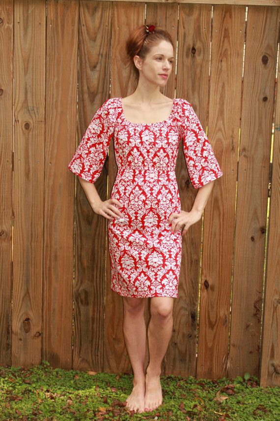 womens damask dress christmas dress bell by sweethomeboutique, $65.00