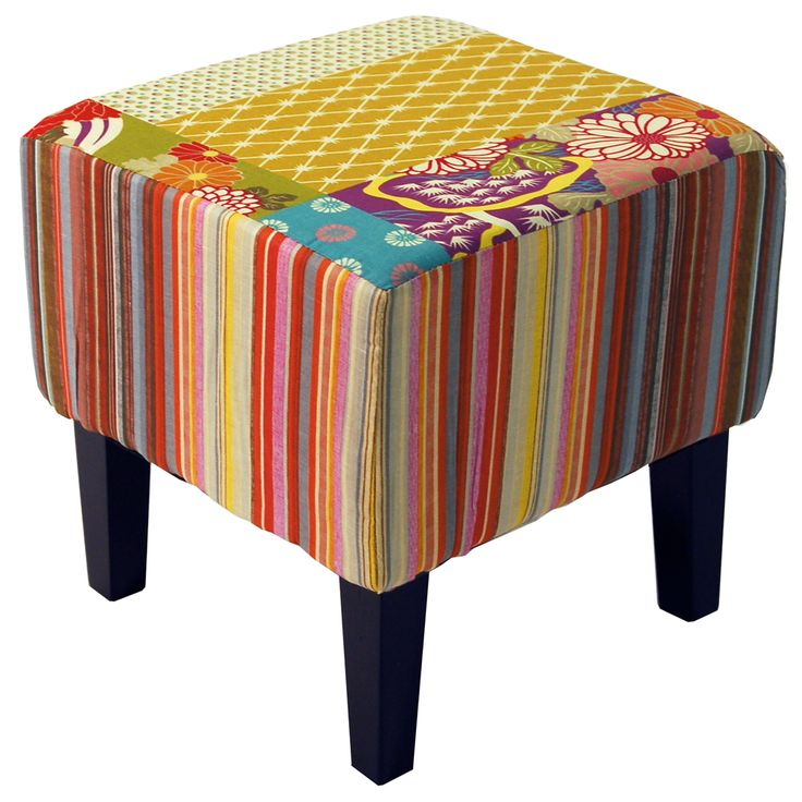 PATCHWORK - Shabby Chic Square Pouffe Stool /Wood Legs - Multi-coloured