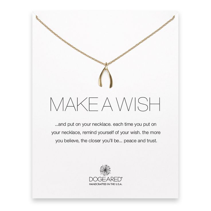 Make A Wish Large Wishbone Necklace Gold Dipped