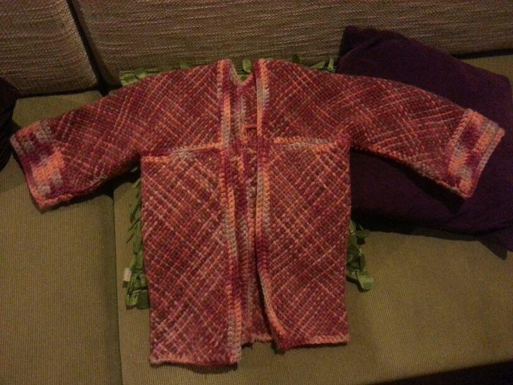 Abriguito en 100% lana hecho en telar bastidor #telar #loom