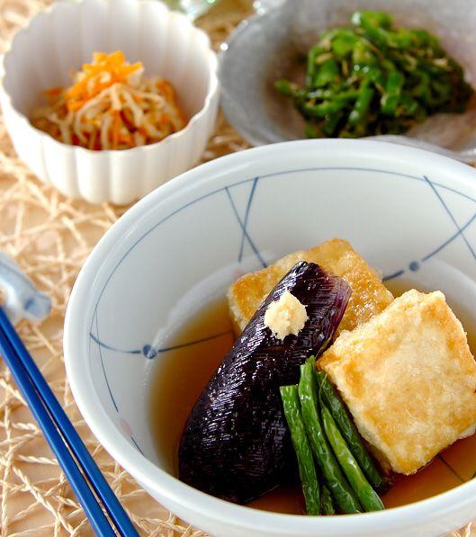 「野菜添え揚げ出し豆腐」の献立・レシピ - 【E・レシピ】料理のプロが作る簡単レシピ/2012.08.11公開の献立です。