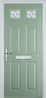 4 Panel 2 Square Classic Composite Front Door in Chartwell Green
