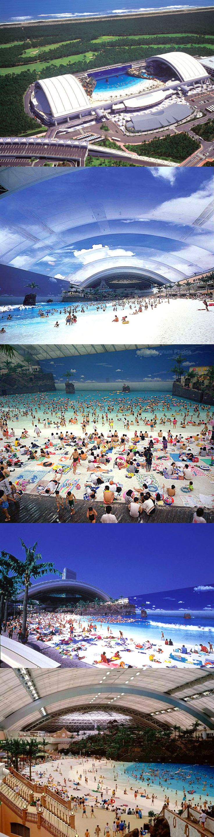 "Seagaia Ocean Dome, Miyazaki, Japan.   World's Largest Indoor Swimming Pool -Phoenix Seagaia Resort Hotel - Miyazaki, Japan. The ""Ocean Dome"" offers an sand beach, artificial volcano, wave generating machine, and a painted sunny skyline for a roof with a capacity for 10,000 people."
