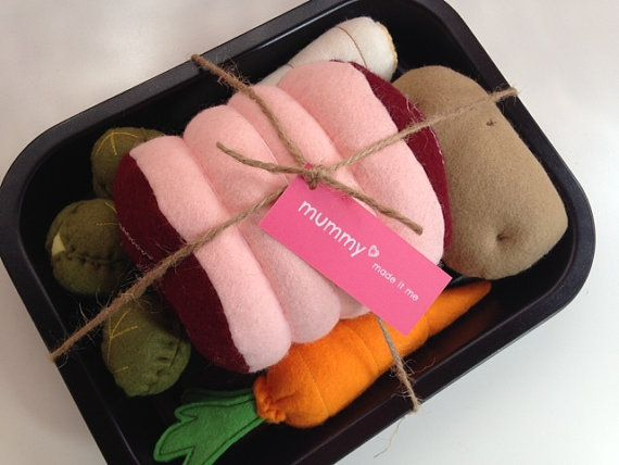 Pretend Play Felt Food Roast Dinner Set with by mummymadeitme, £25.00