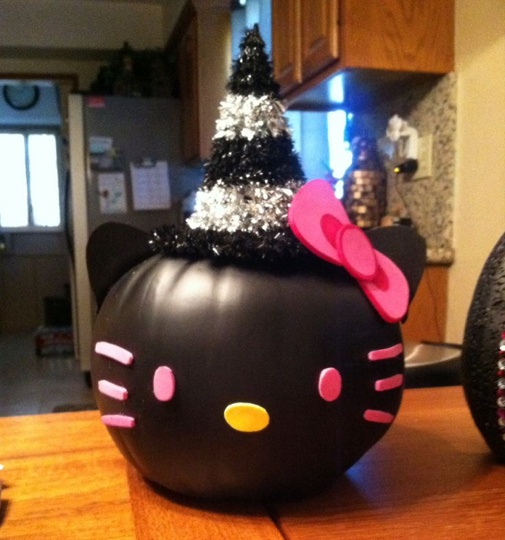 Hello Kitty pumpkin. Orange pumpkin spray painted black ...