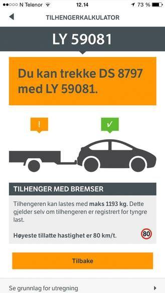 Bil og henger-appen lar deg enkelt se hvor tung henger bilen din lovlig kan frakte. Foto: Statens vegvesen