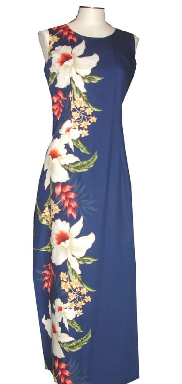 Navy Blue Long Tank Dress with Side Flowers