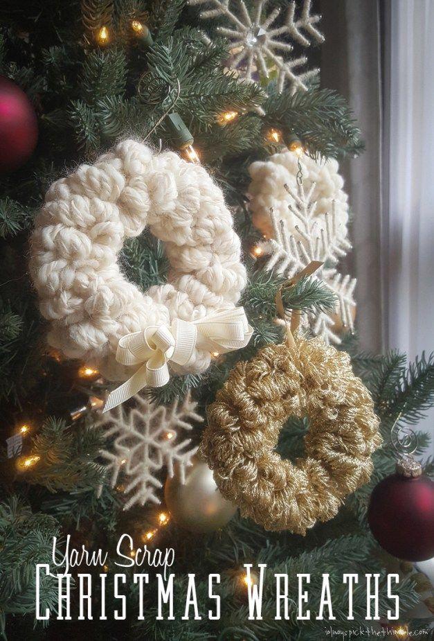 trio of yarn christmas wreaths to make