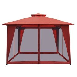 ALEKO® GAZM10X10OR Double Roof 10 X 10 Foot (3 X 3 m) Waterproof Polyester #Patio_Gazebo with Mesh Netting Sun Shade, Solid Orange. http://www.alekoproducts.com/GAZM10X10OR-Double-Roof-10X10-Foot-Gazebo-Orange-p/gazm10x10or-ap.htm