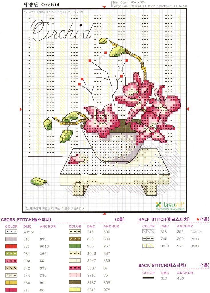 Point de Croix : Patron Vase dans Fleurs 080126054456178861647839