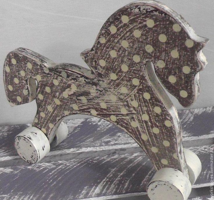 Купить Лошадь в яблоко - коричневый, интерьерная игрушка, винтаж, винтажный стиль, винтажная игрушка, подарок
