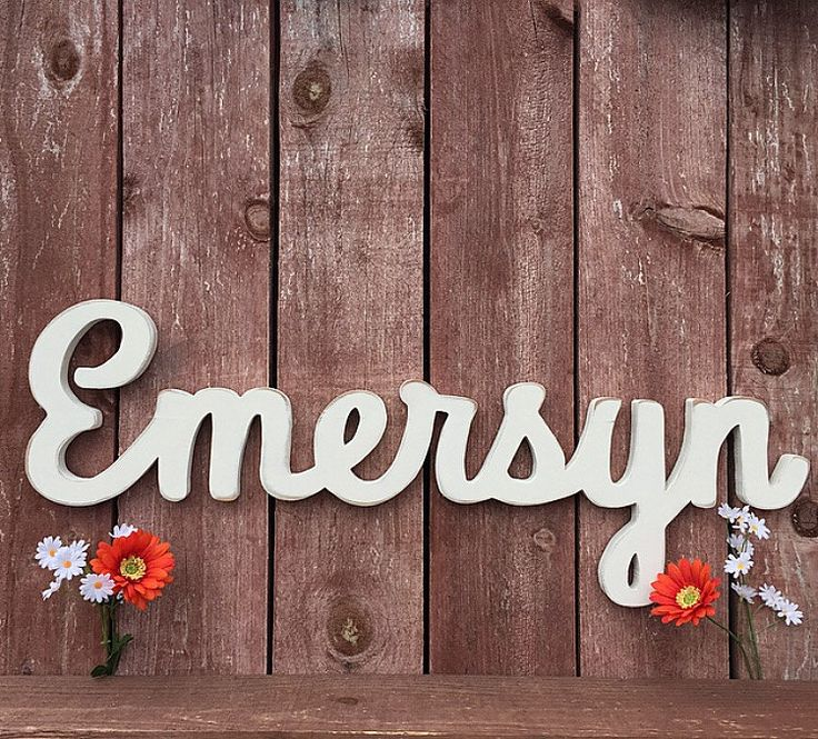 Emersyn - Custom Wooden Name Sign - Cursive Baby Name Sign - Wooden names for Nurseries by lucysletters123 on Etsy https://www.etsy.com/listing/233768523/emersyn-custom-wooden-name-sign-cursive