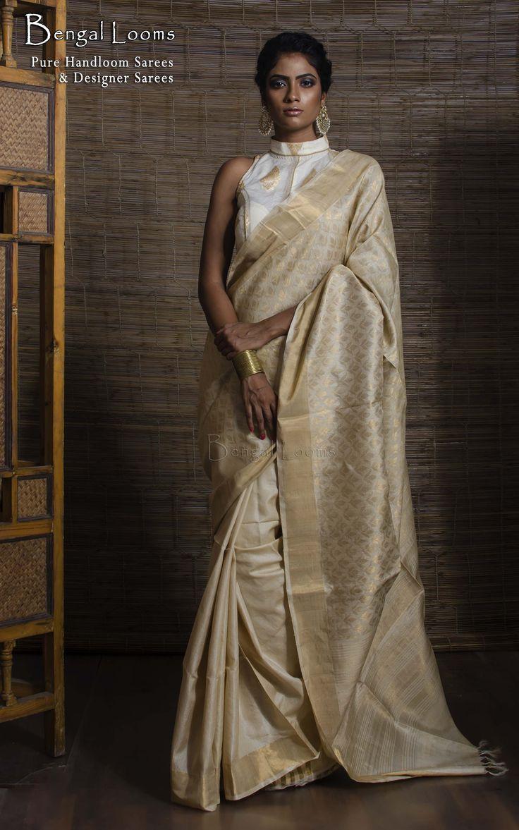 Half Brocade Tussar Silk Saree in Beige and Gold