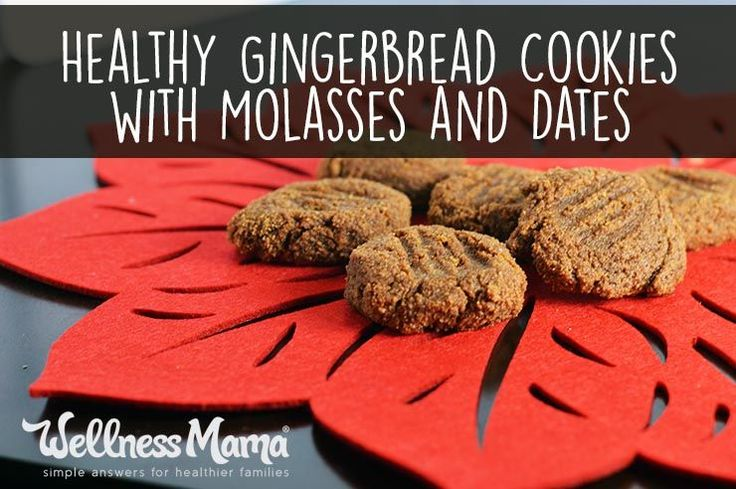 These delicious gingerbread cookies have protein from almond flour, iron and vitamins from molasses and benefits from dates.