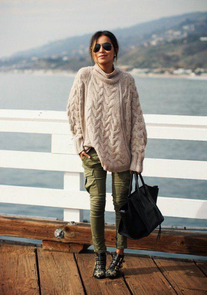 les couleurs qui vont ensemble pour s'habiller, pantalon kaki avec un pull beige