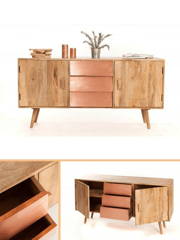 Buffet scandinave cuivre et bois  http://www.homelisty.com/sweet-mango-meubles-cuivre-bois/