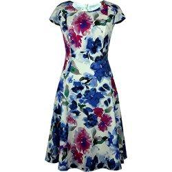 Suknia Lukrecja niebiesko - różowe kwiaty