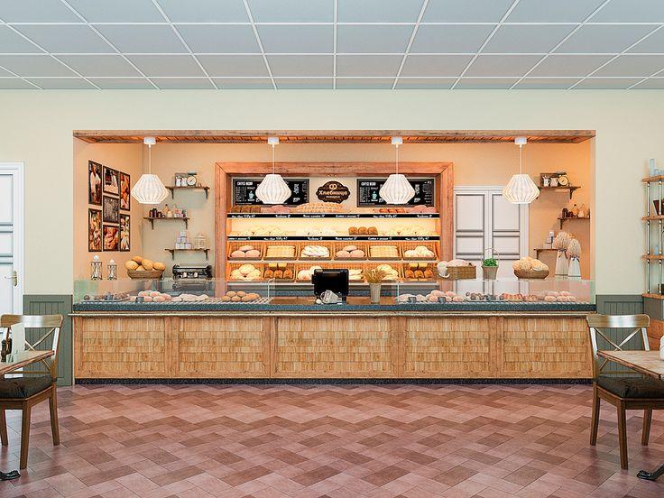 Корпоративный дизайн интерьера сетевой пекарни