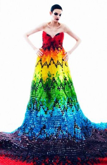alexander mcqueen-inspired gown made of 50,000 gummy bears