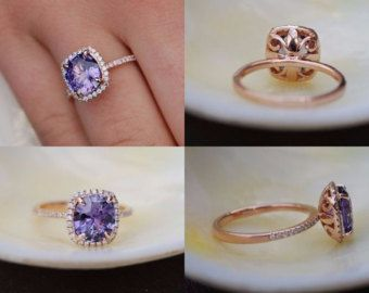 Cojín anillo de compromiso. Anillo amortiguador 14k diamante