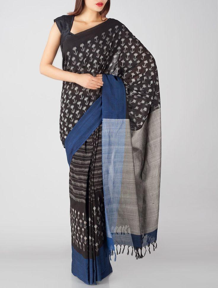 Grey-Black Ikat Cotton Saree