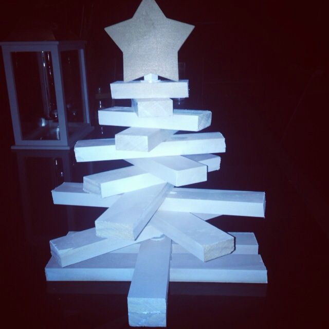 Table top DIY timber christmas tree! Took only a couple of our to complete! Finishing touches tomorrow