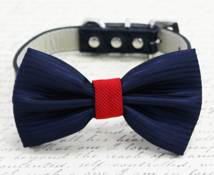 #Navy #Red #DogBowtie, Pet #WeddingAccessories, Pet Accessories, #Wedding Details, Detailed Dog Accessories, Navy Red Wedding