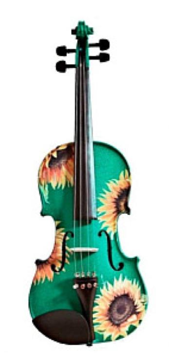 Sunflower Delight Designer Violin in Emerald Green  http://www.rozannasviolins.com