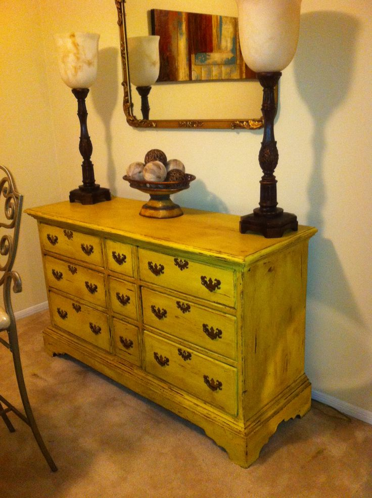 Annie Sloan chalk paint, old English yellow distressed with dark wax.