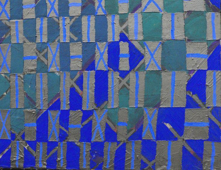 pigments et colle vinylique sur bandes de toiles découpées et tressées avec…