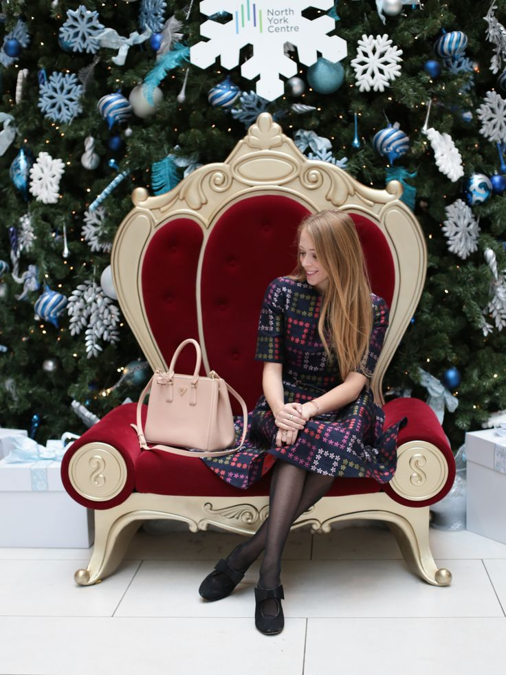 Christmas Eve outfit idea Ted Baker dress, Kate Spade bow shoes, Prada tote