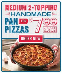 Dominos Pizza Coupon Code: 9184. Medium 2-Topping Pan Pizza for $7.99