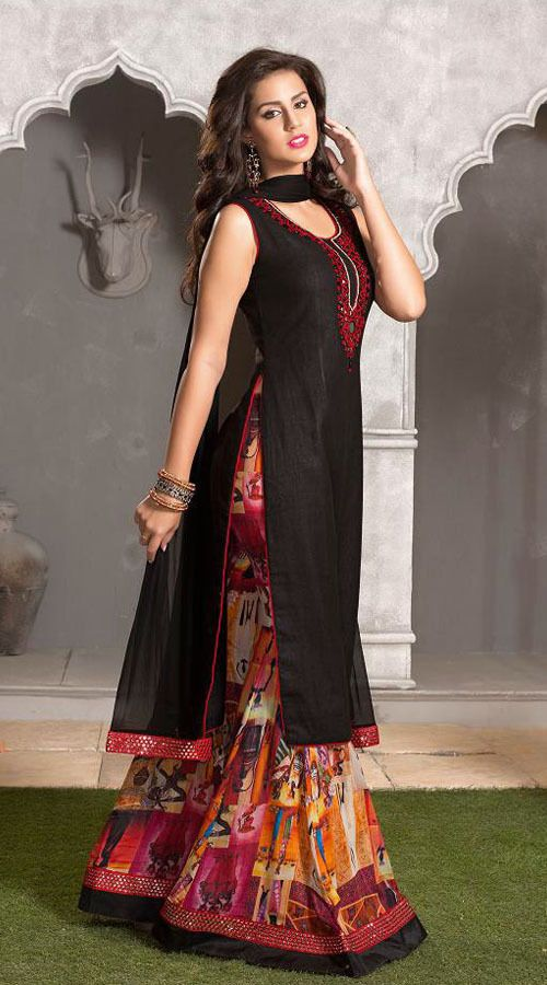 Black Art Silk And Net Readymade Suit With Printed Palazzo