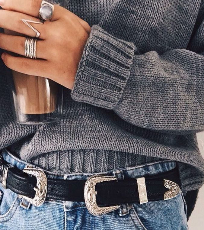 "- Every Boho babe needs the Kendall Double Buckle Belt wherever they go! Tan or Black vegan leather belt has two engraved, gunmetal buckles at either end. Belt measures 41"" long with four hole adjustm"
