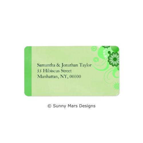 Green Floral Hibiscus Custom Return Address Labels or Wedding Favor Labels by sunnymars of SunnyMarsDesigns. This elegant, modern, stylish, trendy customizable wedding label features a green swirly hibiscus flower decoration design. Click through for matching wedding stationery and related products.