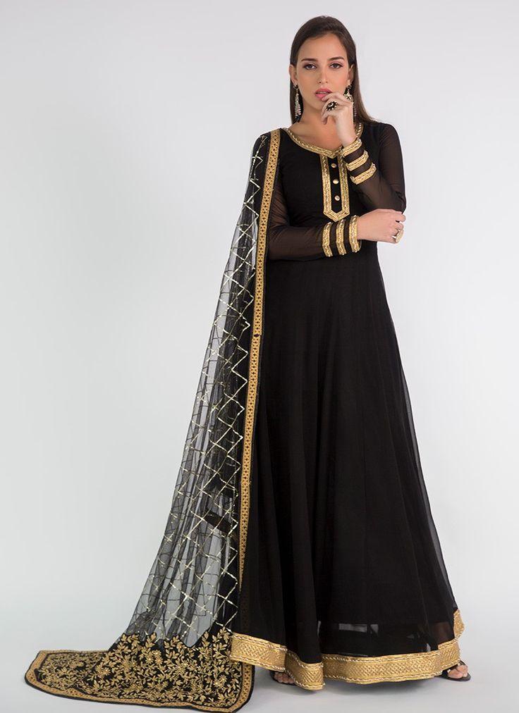 Black Anarkali with Embroidered Dupatta