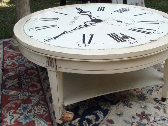 Round Clock Coffee Table With Annie Sloan By BearCreekInteriors