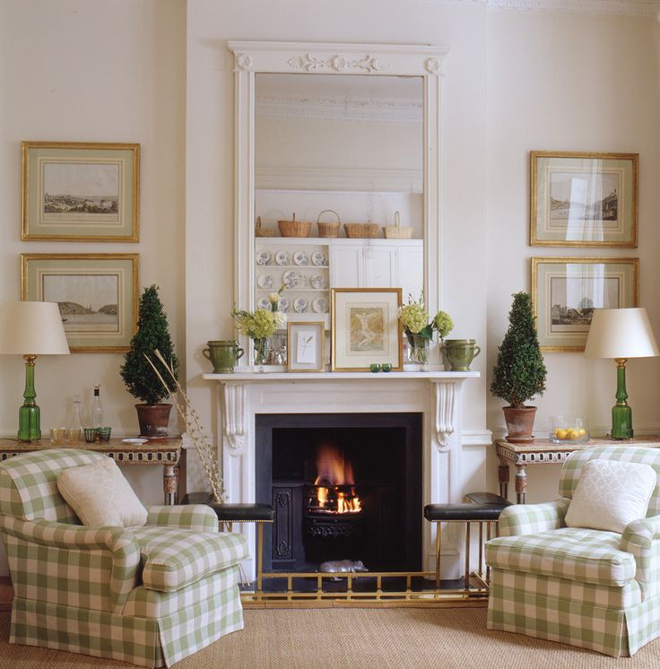 Green And White Living Room With Buffalo Check Chairs