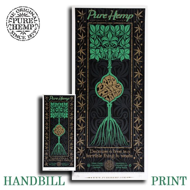 """HANDBILL And SCREEN PRINT Jeff Wood of Drowning Creek Studios Title: Free The Tree, Pure Hemp 3 Color Screen 11 x 25"""" Print  And 5"""" x 11"""" Handbill Including Gold Metallic Inks Printed On Hemp Paper. Edition Size: 1,000 Signed/Numbered By The Artist"""