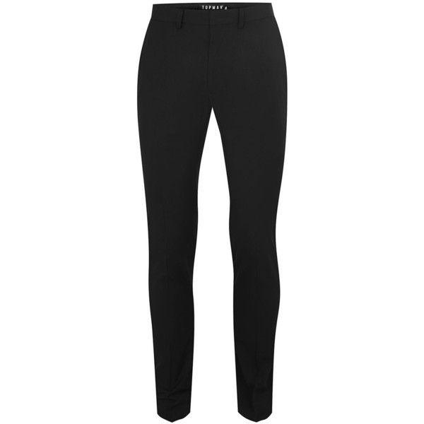 TOPMAN Black Ultra Skinny Fit Suit Trousers ($48) ❤ liked on Polyvore featuring men's fashion, men's clothing, men's pants, men's dress pants, bottoms, black, mens zip off pants, mens skinny fit dress pants, mens skinny dress pants and mens zipper pants