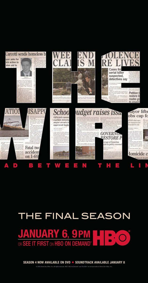 Created by David Simon.  With Dominic West, Lance Reddick, Sonja Sohn, Wendell Pierce. Baltimore drug scene, seen through the eyes of drug dealers and law enforcement.