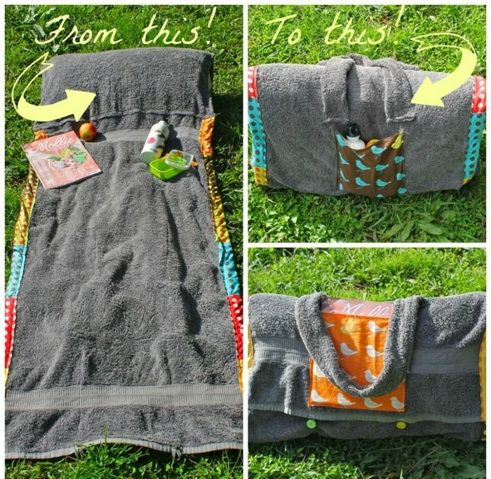 bag unwraps into comfy beach blanket reuse old towel